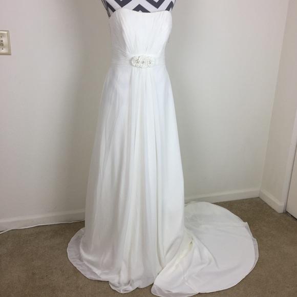 Davids Bridal Ivory Chiffon Aline Wedding Dress   Poshmark